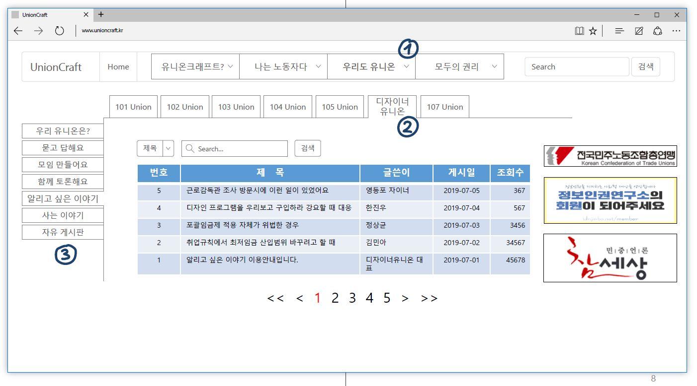 2 작은사업장 노동자 권리행동 플랫폼(유니온크래프트) 예시 화면 [출처 권리찾기유니온 권유하다].JPG
